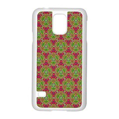 Red Green Flower Of Life Drawing Pattern Samsung Galaxy S5 Case (white) by Cveti