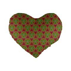 Red Green Flower Of Life Drawing Pattern Standard 16  Premium Flano Heart Shape Cushions by Cveti