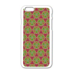 Red Green Flower Of Life Drawing Pattern Apple Iphone 6/6s White Enamel Case by Cveti