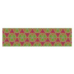 Red Green Flower Of Life Drawing Pattern Satin Scarf (oblong) by Cveti