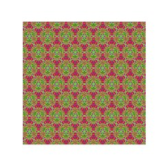 Red Green Flower Of Life Drawing Pattern Small Satin Scarf (square) by Cveti