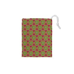 Red Green Flower Of Life Drawing Pattern Drawstring Pouches (xs)  by Cveti