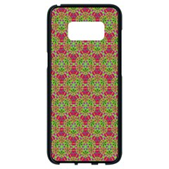 Red Green Flower Of Life Drawing Pattern Samsung Galaxy S8 Black Seamless Case by Cveti