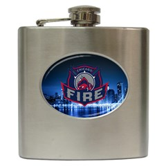 Chicago Fire With Skyline Hip Flask (6 Oz) by allthingseveryone