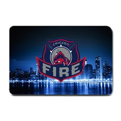 Chicago Fire With Skyline Small Doormat  by allthingseveryone