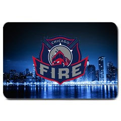Chicago Fire With Skyline Large Doormat  by allthingseveryone