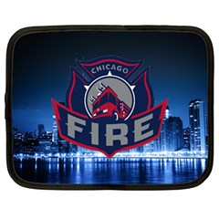 Chicago Fire With Skyline Netbook Case (large) by allthingseveryone