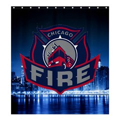Chicago Fire With Skyline Shower Curtain 66  X 72  (large)  by allthingseveryone