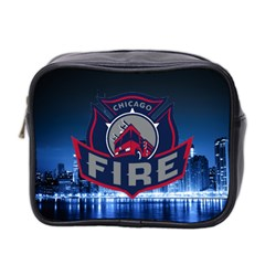 Chicago Fire With Skyline Mini Toiletries Bag 2 Side by allthingseveryone