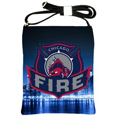 Chicago Fire With Skyline Shoulder Sling Bags by allthingseveryone
