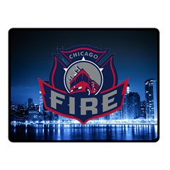 Chicago Fire With Skyline Double Sided Fleece Blanket (small)