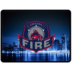Chicago Fire With Skyline Double Sided Fleece Blanket (large)  by allthingseveryone