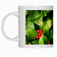 Christmas Season Floral Green Red Skimmia Flower White Mugs by yoursparklingshop