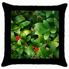 Christmas Season Floral Green Red Skimmia Flower Throw Pillow Case (black) by yoursparklingshop