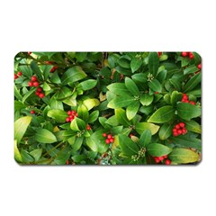 Christmas Season Floral Green Red Skimmia Flower Magnet (rectangular) by yoursparklingshop