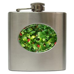 Christmas Season Floral Green Red Skimmia Flower Hip Flask (6 Oz) by yoursparklingshop