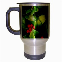 Christmas Season Floral Green Red Skimmia Flower Travel Mug (silver Gray) by yoursparklingshop