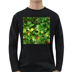 Christmas Season Floral Green Red Skimmia Flower Long Sleeve Dark T Shirts by yoursparklingshop
