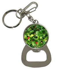 Christmas Season Floral Green Red Skimmia Flower Button Necklaces by yoursparklingshop