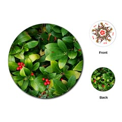 Christmas Season Floral Green Red Skimmia Flower Playing Cards (round)  by yoursparklingshop