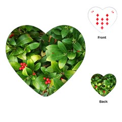 Christmas Season Floral Green Red Skimmia Flower Playing Cards (heart)  by yoursparklingshop