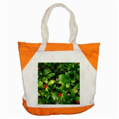 Christmas Season Floral Green Red Skimmia Flower Accent Tote Bag by yoursparklingshop