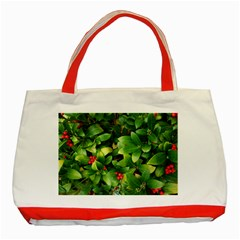 Christmas Season Floral Green Red Skimmia Flower Classic Tote Bag (red) by yoursparklingshop