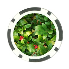 Christmas Season Floral Green Red Skimmia Flower Poker Chip Card Guard by yoursparklingshop