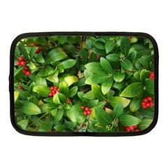 Christmas Season Floral Green Red Skimmia Flower Netbook Case (medium)  by yoursparklingshop