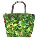 Christmas Season Floral Green Red Skimmia Flower Bucket Bags Front