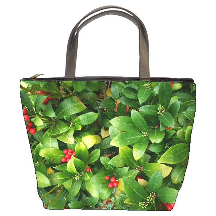 Christmas Season Floral Green Red Skimmia Flower Bucket Bags