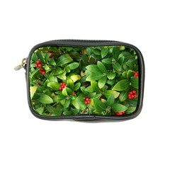 Christmas Season Floral Green Red Skimmia Flower Coin Purse by yoursparklingshop