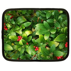 Christmas Season Floral Green Red Skimmia Flower Netbook Case (xl)  by yoursparklingshop
