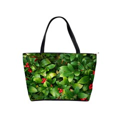 Christmas Season Floral Green Red Skimmia Flower Shoulder Handbags by yoursparklingshop
