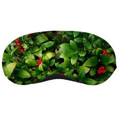 Christmas Season Floral Green Red Skimmia Flower Sleeping Masks by yoursparklingshop