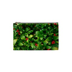 Christmas Season Floral Green Red Skimmia Flower Cosmetic Bag (small)  by yoursparklingshop