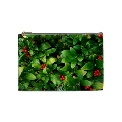 Christmas Season Floral Green Red Skimmia Flower Cosmetic Bag (medium)  by yoursparklingshop