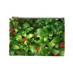Christmas Season Floral Green Red Skimmia Flower Cosmetic Bag (large)  by yoursparklingshop