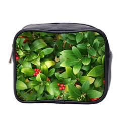 Christmas Season Floral Green Red Skimmia Flower Mini Toiletries Bag 2 Side by yoursparklingshop