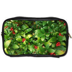 Christmas Season Floral Green Red Skimmia Flower Toiletries Bags 2 Side by yoursparklingshop