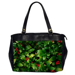 Christmas Season Floral Green Red Skimmia Flower Office Handbags by yoursparklingshop