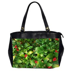 Christmas Season Floral Green Red Skimmia Flower Office Handbags (2 Sides)  by yoursparklingshop