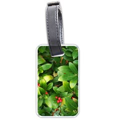 Christmas Season Floral Green Red Skimmia Flower Luggage Tags (one Side)  by yoursparklingshop