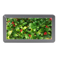 Christmas Season Floral Green Red Skimmia Flower Memory Card Reader (mini) by yoursparklingshop