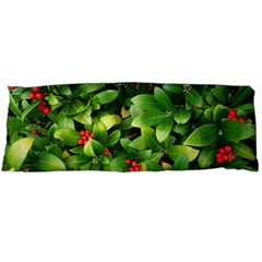 Christmas Season Floral Green Red Skimmia Flower Body Pillow Case (dakimakura) by yoursparklingshop