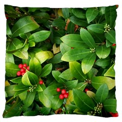 Christmas Season Floral Green Red Skimmia Flower Large Cushion Case (one Side) by yoursparklingshop
