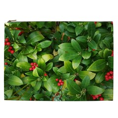 Christmas Season Floral Green Red Skimmia Flower Cosmetic Bag (xxl)  by yoursparklingshop