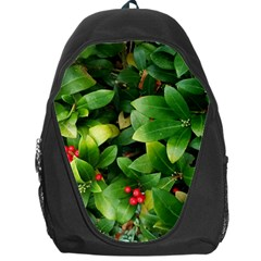 Christmas Season Floral Green Red Skimmia Flower Backpack Bag by yoursparklingshop