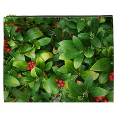 Christmas Season Floral Green Red Skimmia Flower Cosmetic Bag (xxxl)  by yoursparklingshop