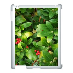 Christmas Season Floral Green Red Skimmia Flower Apple Ipad 3/4 Case (white) by yoursparklingshop